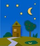 Ландшафт природы nighttime с домом, луной и звездами Стоковое Фото