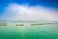 Ландшафт пристани озера лун Солнця Стоковое Фото