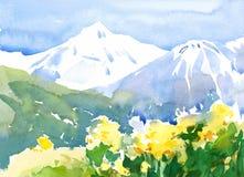 Ландшафт при покрашенная рука иллюстрации природы акварели цветков и гор Стоковое Изображение RF