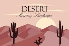 Ландшафт пустыни шаржа с dunas и кактусом Стоковая Фотография