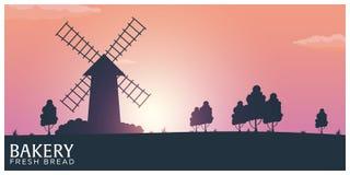 Ландшафт плаката сельский с ветрянкой Восход солнца bakersfield хлеб свежий также вектор иллюстрации притяжки corel иллюстрация штока