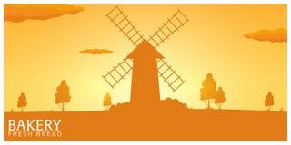 Ландшафт плаката сельский с ветрянкой Восход солнца bakersfield хлеб свежий также вектор иллюстрации притяжки corel бесплатная иллюстрация