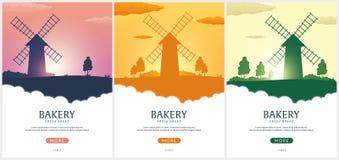 Ландшафт плаката сельский с ветрянкой Восход солнца bakersfield хлеб свежий также вектор иллюстрации притяжки corel иллюстрация вектора