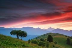 Ландшафт плато горы вечера Стоковое Изображение RF