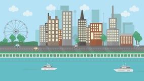 Ландшафт плоского дизайна городской иллюстрация штока