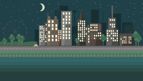 Ландшафт плоской ночи дизайна городской иллюстрация вектора