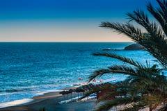 Ландшафт пляжа в вечере Стоковая Фотография RF
