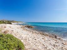 Ландшафт пляжа Сардинии Италии Bidda Розы Стоковые Фото