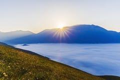 Ландшафт равнины Castelluccio, в Италии Стоковые Фото