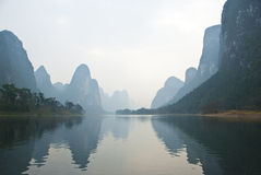 Ландшафт реки в зиме, Guilin Li, Китая Стоковые Фотографии RF
