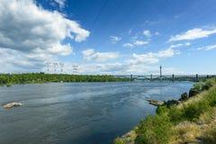 Ландшафт реки Днепр и шлюпок Стоковая Фотография