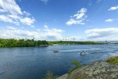 Ландшафт реки Днепр и шлюпок Стоковое Изображение
