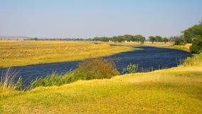 Ландшафт реки Chobe, взгляд от прокладки Caprivi на границе Намибии Ботсваны, Африке Национальный парк Chobe, известный запас a w стоковые изображения