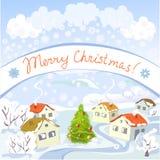 Ландшафт рождества сельский Стоковая Фотография RF