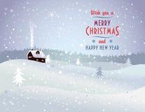 Ландшафт рождества с домом Стоковые Фотографии RF
