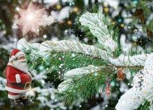 Ландшафт рождества с Санта Клаусом Стоковое Изображение