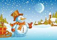 Ландшафт рождества с снеговиком Стоковые Изображения