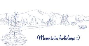 Ландшафт ручки графического искусства луга горы Стоковые Фото