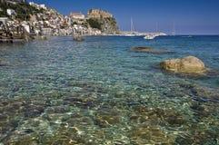 Ландшафт рыбацкого поселка Scilla итальянский Стоковая Фотография