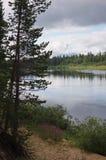 Ландшафт северного реки в конце лета Стоковые Изображения