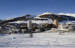 Ландшафт Сестриере в зиме Стоковое Изображение