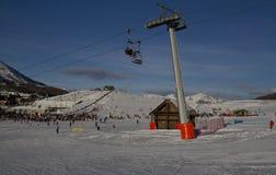 Ландшафт Сестриере в зиме Стоковое Изображение RF