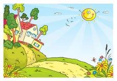 Ландшафт сельской местности с холмами и домами иллюстрация штока