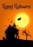 Ландшафт силуэта хеллоуина Стоковая Фотография RF