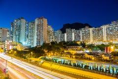 Ландшафт снабжения жилищем Гонконга под утесом льва стоковое изображение rf