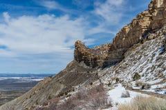 Ландшафт снега зимы горы пустыни национального парка verde мезы Стоковая Фотография