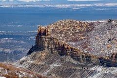 Ландшафт снега зимы горы пустыни национального парка verde мезы Стоковые Изображения