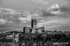 Ландшафт собора Ливерпуля и города стоковая фотография rf