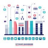 Ландшафт социальной сети города городской заполненный с Бесплатная Иллюстрация
