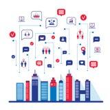 Ландшафт социальной сети города городской заполненный с Иллюстрация штока
