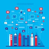 Ландшафт социальной сети города городской заполненный с Иллюстрация вектора