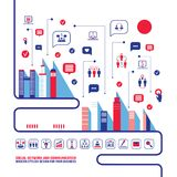 Ландшафт социальной сети города городской заполнил с значками дела Иллюстрация вектора