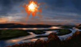 Ландшафт Солнце в небе Стоковое фото RF