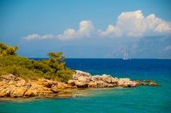 Ландшафт Средиземного моря Горы и море Турции Стоковые Фотографии RF