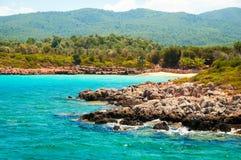 Ландшафт Средиземного моря Горы и море Турции Стоковые Изображения