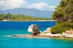 Ландшафт Средиземного моря Горы и море Турции Стоковая Фотография