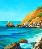 Ландшафт Средиземного моря с пляжем бесплатная иллюстрация