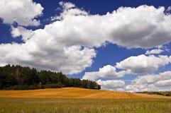 Ландшафт страны с белыми облаками в небе Стоковые Изображения RF