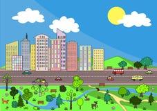 Ландшафт с абстрактным городом и уютным парком Предпосылка вектора Стоковое Изображение RF