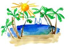 Ландшафт с ладонью и sailfish Стоковые Изображения