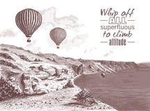 Ландшафт с вектором воздушного шара Стоковые Фото