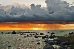 Ландшафт с взглядами Балтийского моря Стоковое Изображение RF