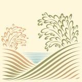 Ландшафт с взглядом моря Стоковые Фото