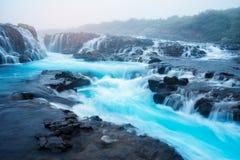 Ландшафт с водопадом Bruarfoss в Исландии Стоковое фото RF