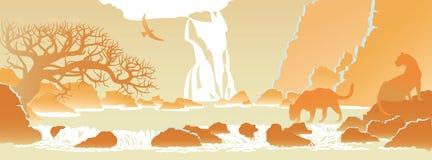 Ландшафт с высокими скалами и летящей птицей Стоковое фото RF