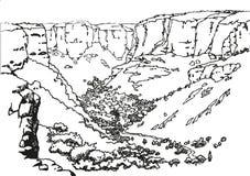 Ландшафт с деревней в горах Стоковое Фото